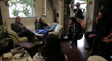 Jorge Mautner e Nelson Jacobina em casa