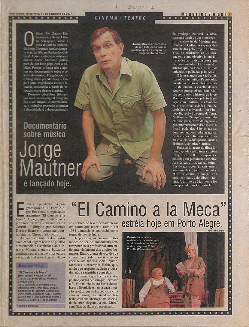 Documentário sobre músico Jorge Mautner é lançado hoje.