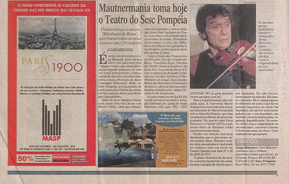 Mautnermania toma hoje o Teatro do Sesc Pompéia