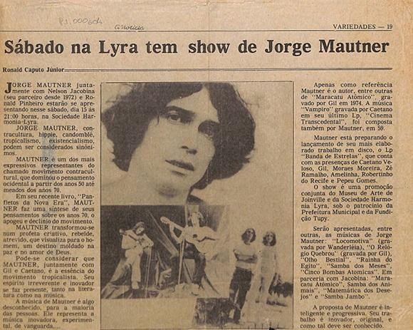 Sábado na Lyra tem show de Jorge Mautner