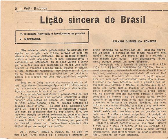 Lição Sincera de Brasil